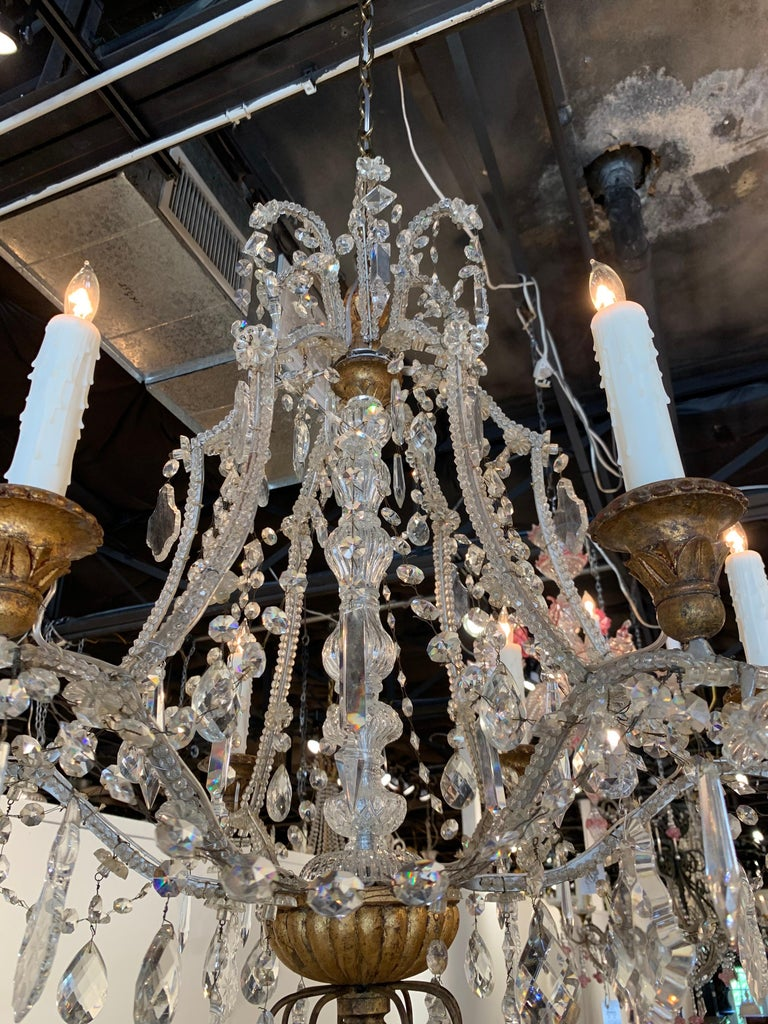 20th Century Antique Italian Beaded Crystal 6-Light Chandelier For Sale