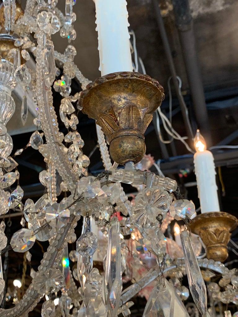 Antique Italian Beaded Crystal 6-Light Chandelier For Sale 1