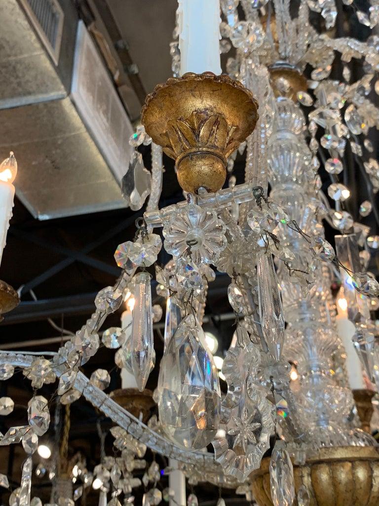 Antique Italian Beaded Crystal 6-Light Chandelier For Sale 2