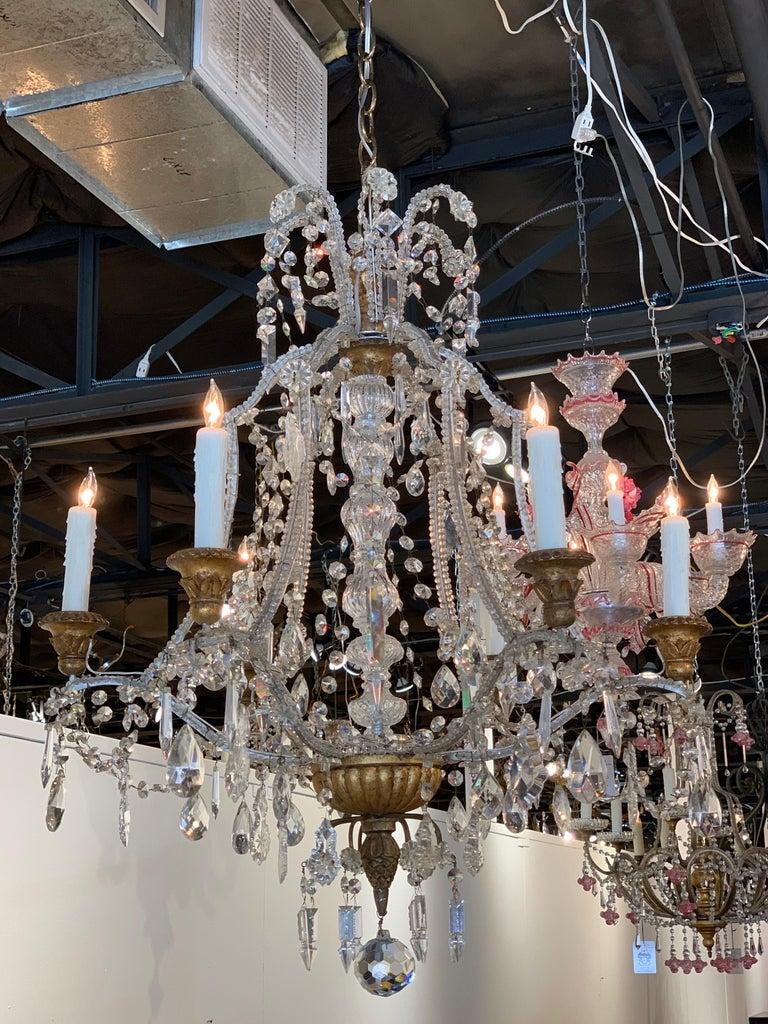 Antique Italian Beaded Crystal 6-Light Chandelier For Sale 3