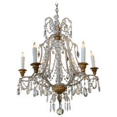 Antique Italian Beaded Crystal 6-Light Chandelier