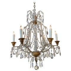 Antique Italian Beaded Crystal 6-Light Chandelier