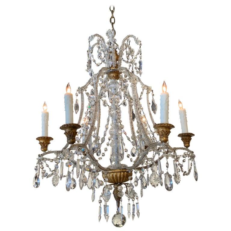 Antique Italian Beaded Crystal 6-Light Chandelier For Sale