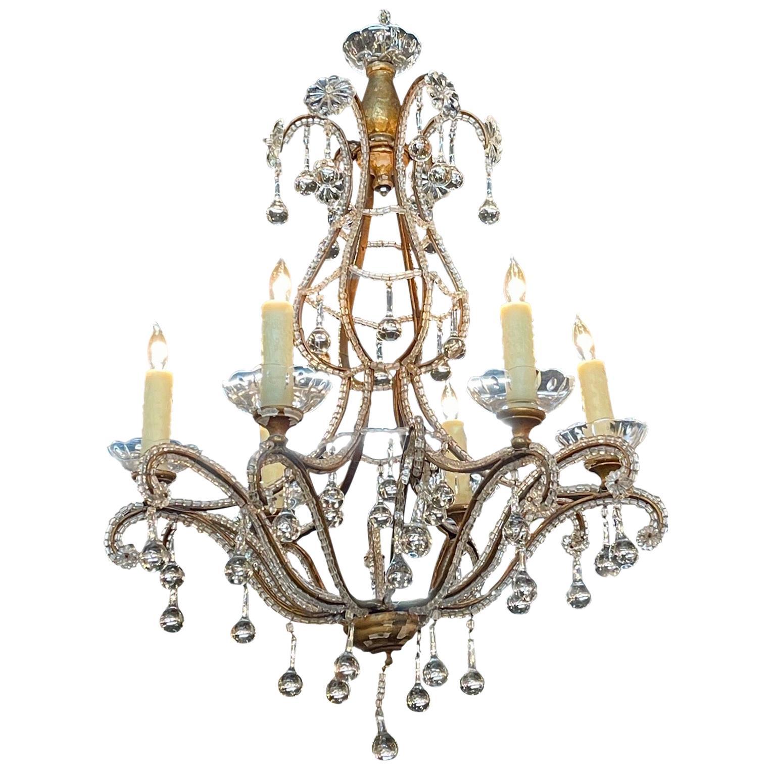 Antique Italian Beaded Crystal 6-Light Chandeliers