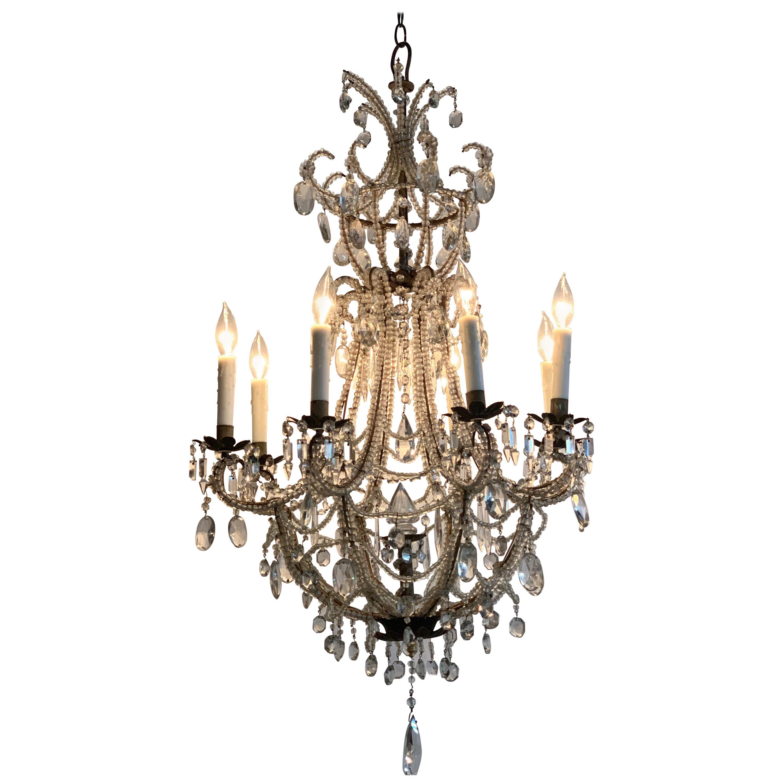 Antique Italian Beaded Crystal 8-Light Chandelier