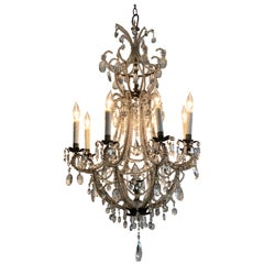 Antique Italian Beaded Crystal 8-Light Chandelier