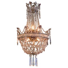 Antique Italian Beaded Crystal and Amethyst Basket Form Chandelier