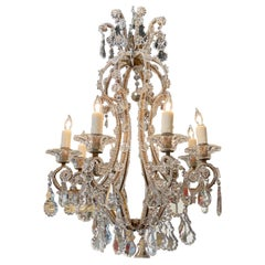 Antique Italian Beaded Crystal Chandelier with 6 Lights