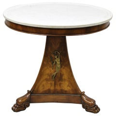 Antique Italian Biedermeier Empire Round Marble Top Center Table Bronze Ormolu