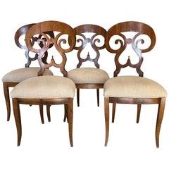 Antique Italian Biedermeier Style Chairs, Set of 4