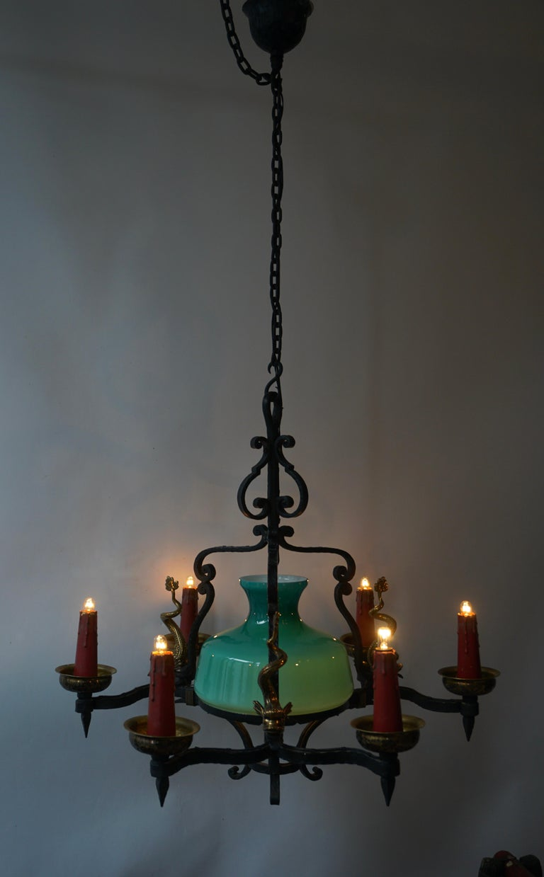 Antique Italian Black Wrought Iron and Green Murano Glass Chandelier For Sale 7