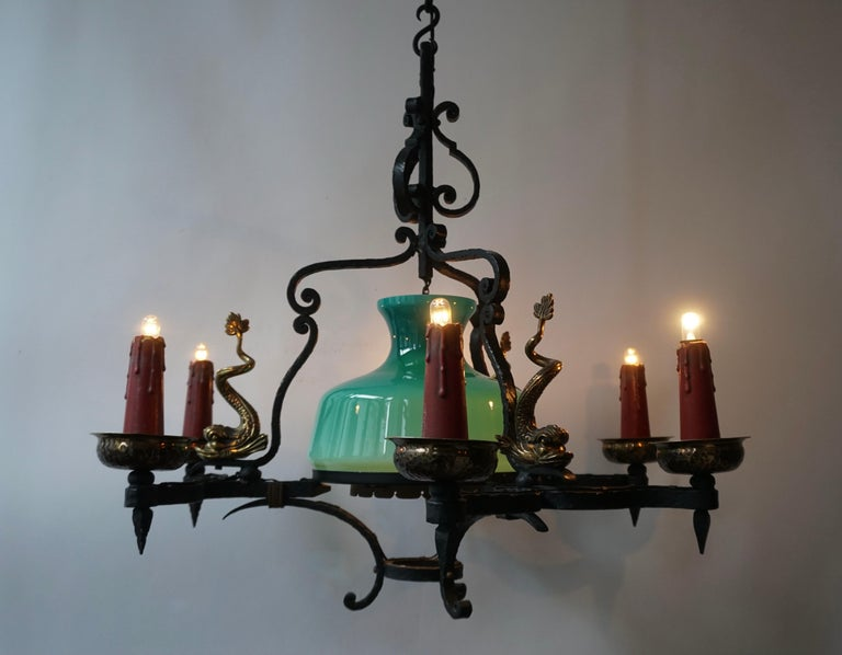 Antique Italian Black Wrought Iron and Green Murano Glass Chandelier For Sale 9