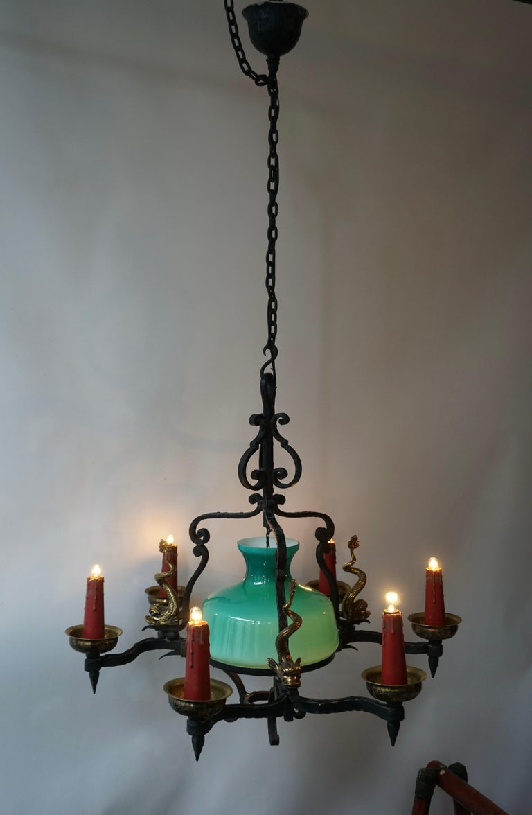 Mid-Century Modern Antique Italian Black Wrought Iron and Green Murano Glass Chandelier For Sale