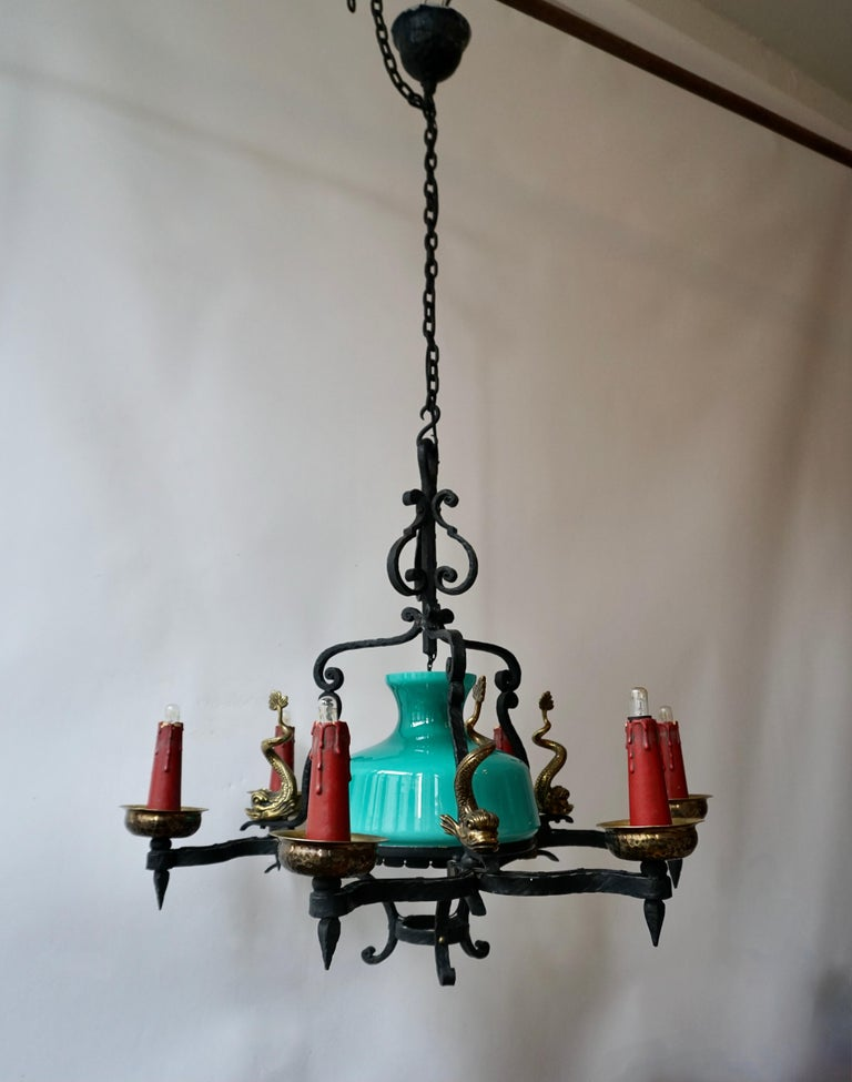 Antique Italian Black Wrought Iron and Green Murano Glass Chandelier In Good Condition For Sale In Antwerp, BE