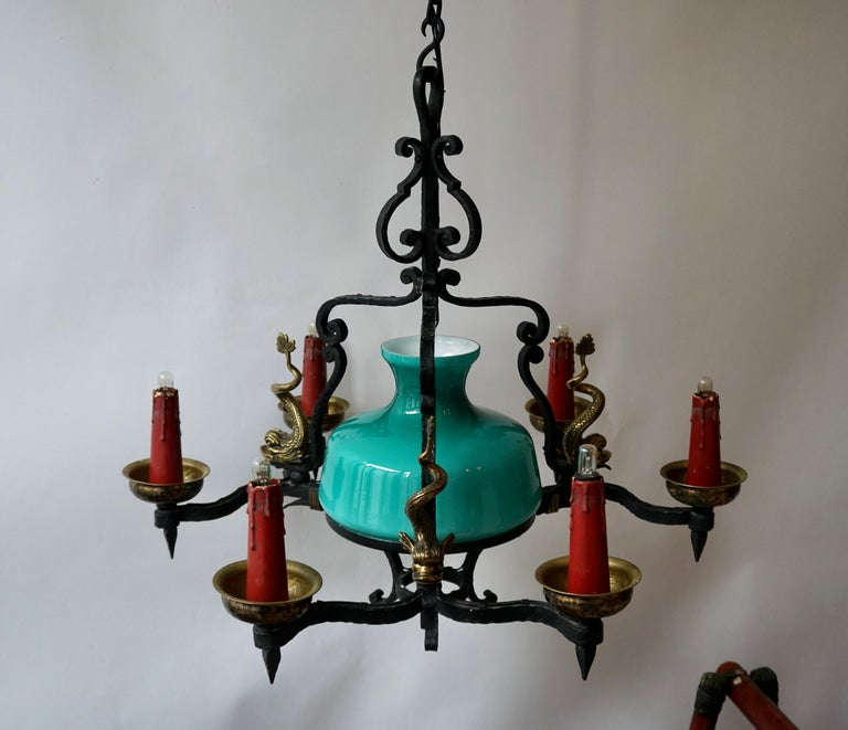 20th Century Antique Italian Black Wrought Iron and Green Murano Glass Chandelier For Sale