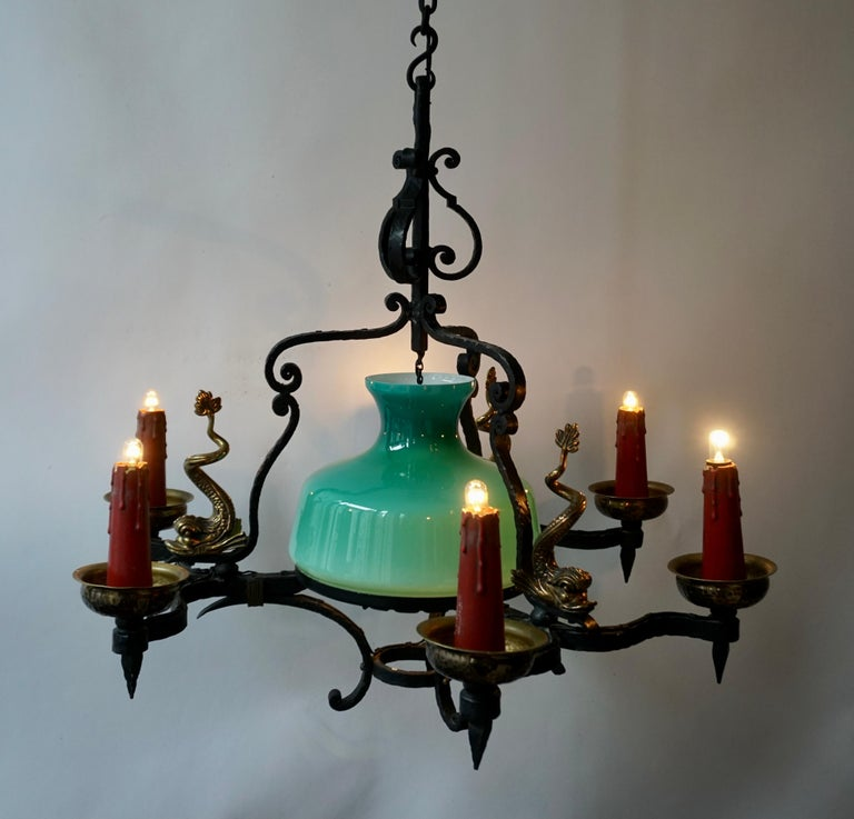 Brass Antique Italian Black Wrought Iron and Green Murano Glass Chandelier For Sale