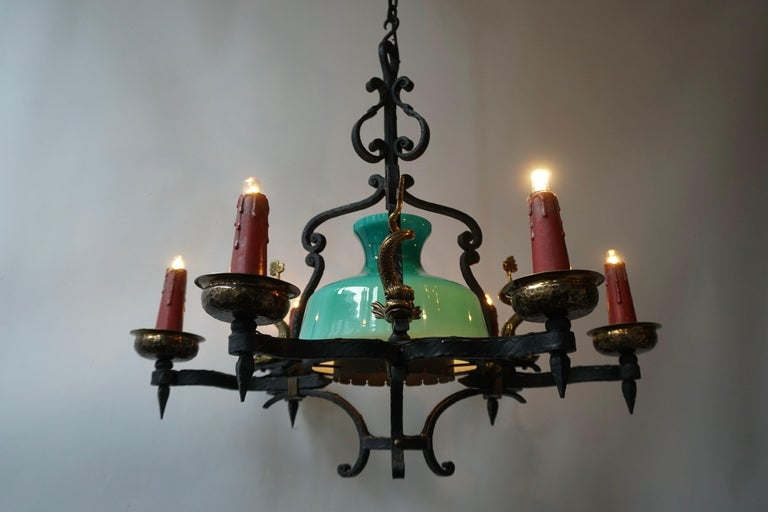 Antique Italian Black Wrought Iron and Green Murano Glass Chandelier For Sale 3