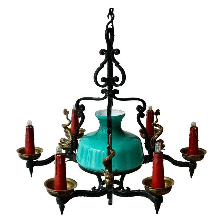 Antique Italian Black Wrought Iron and Green Murano Glass Chandelier For Sale