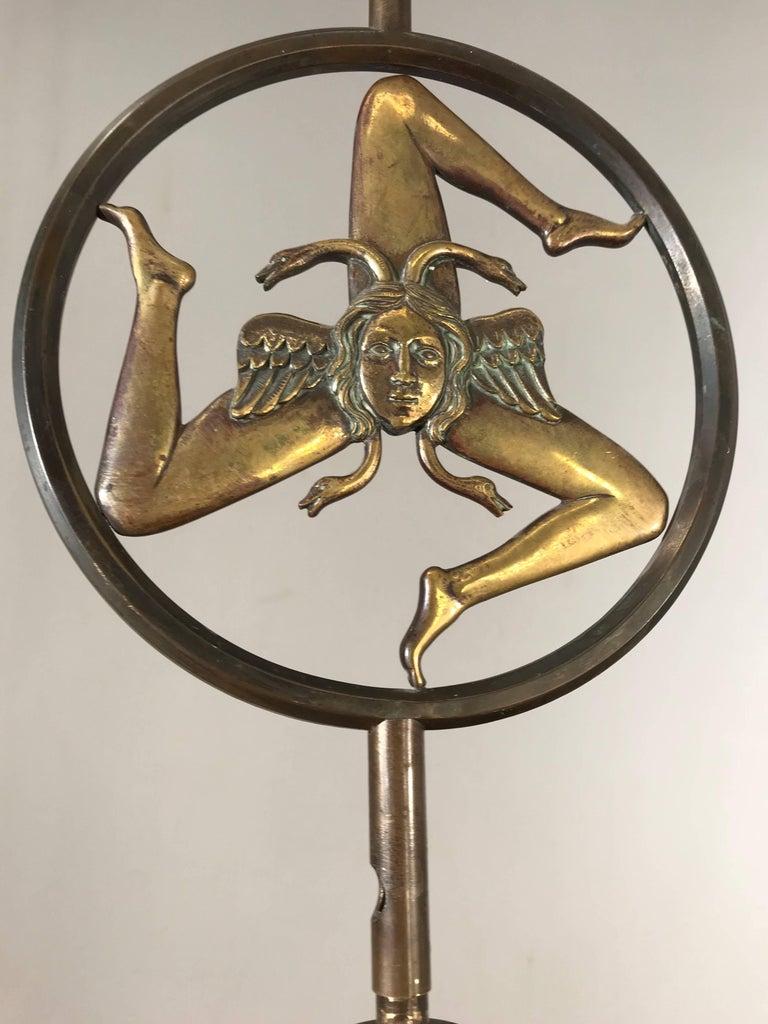 Antique Italian Bronze Pendant With Trinacria Hellenic Nature Of