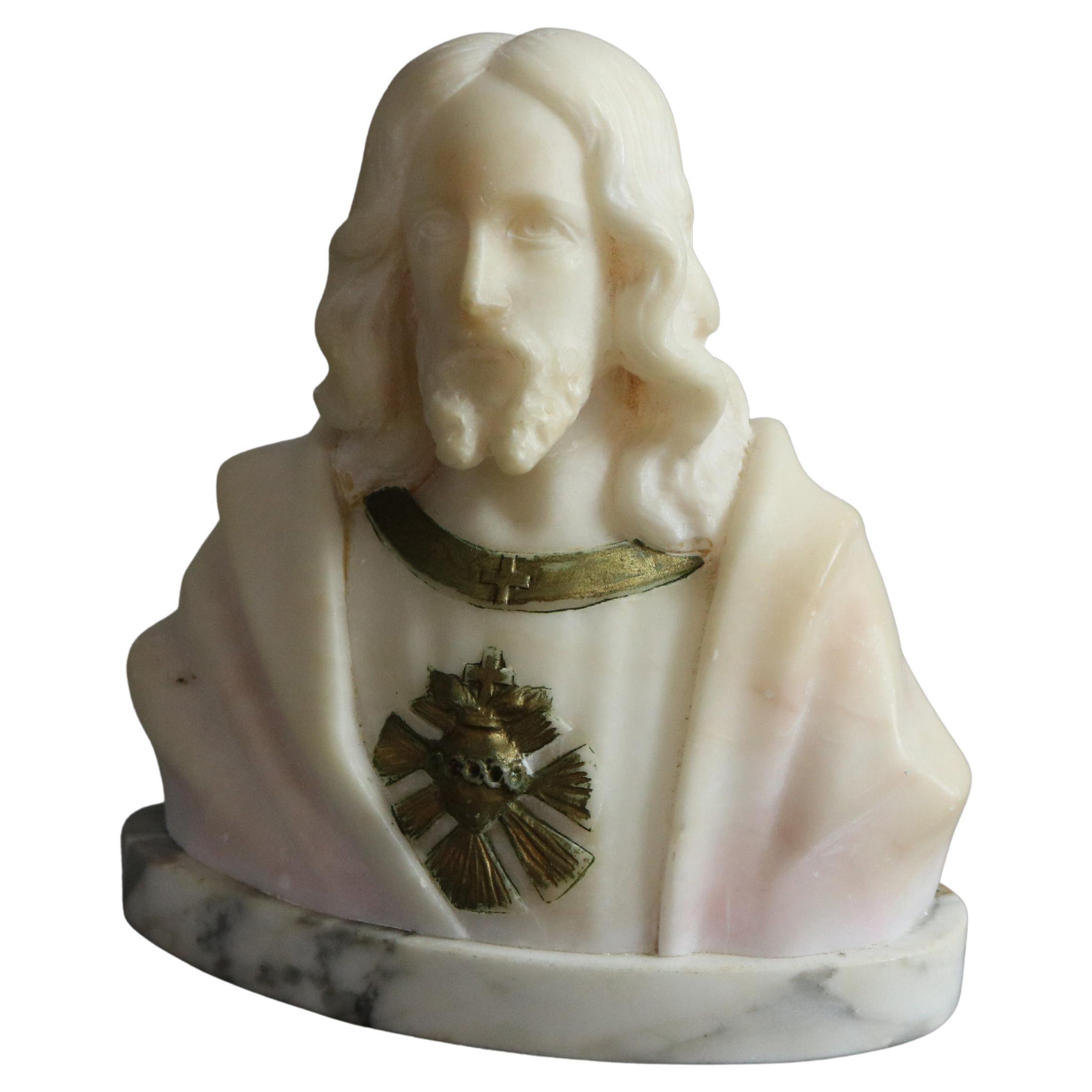 Antique Italian Carved Alabaster Bust Sculpture of Jesus Christ, c1890