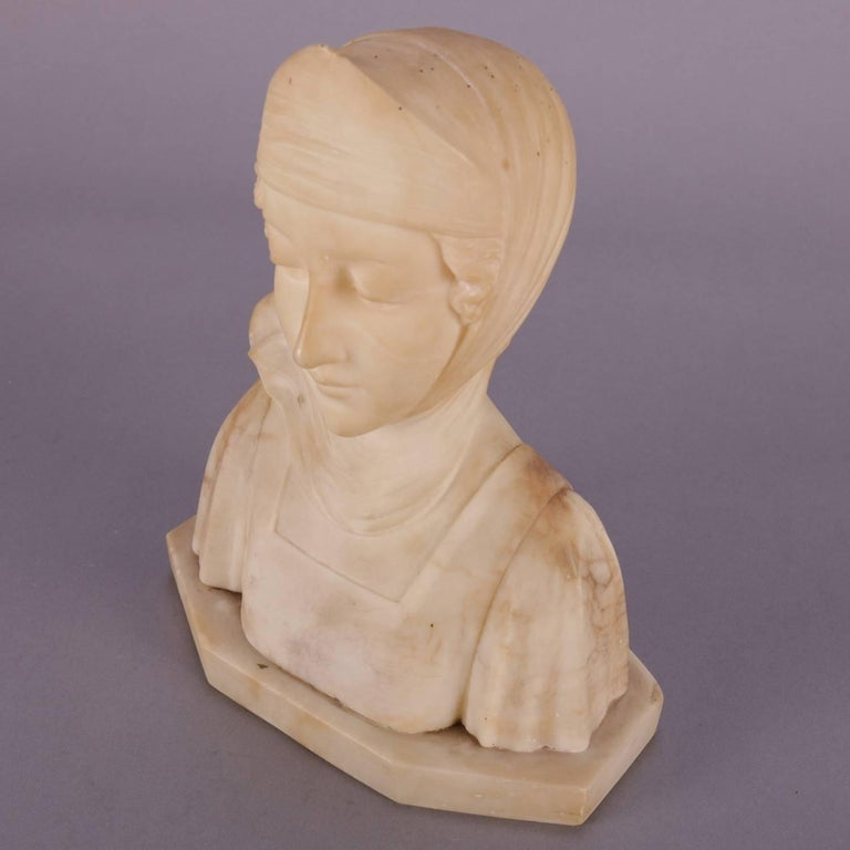 Antique Italian fine and detailed hand-carved alabaster portrait bust sculpture of Dante's Beatrice, circa 1890  Measures: 8