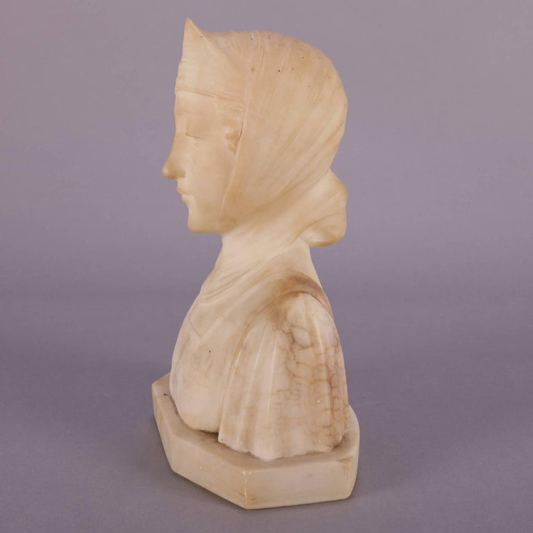 Antique Italian Carved Alabaster Portrait Bust Sculpture Dante's Beatrice In Good Condition For Sale In Big Flats, NY