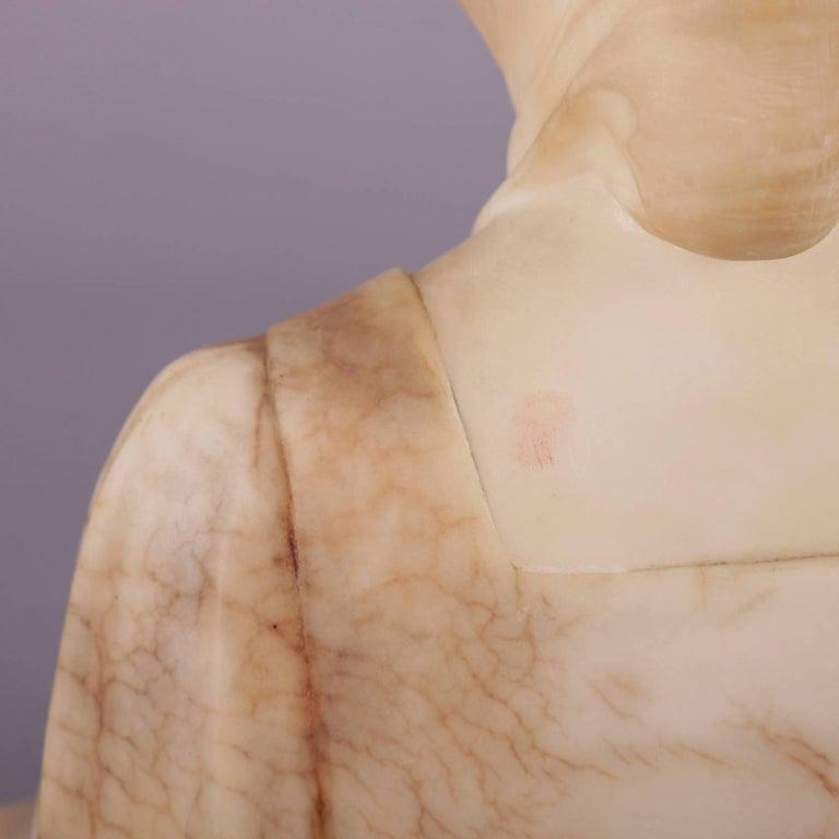 Antique Italian Carved Alabaster Portrait Bust Sculpture Dante's Beatrice For Sale 1