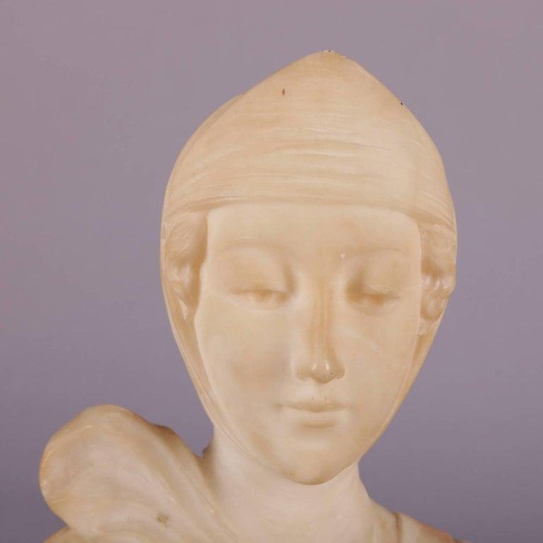 Antique Italian Carved Alabaster Portrait Bust Sculpture Dante's Beatrice For Sale 3