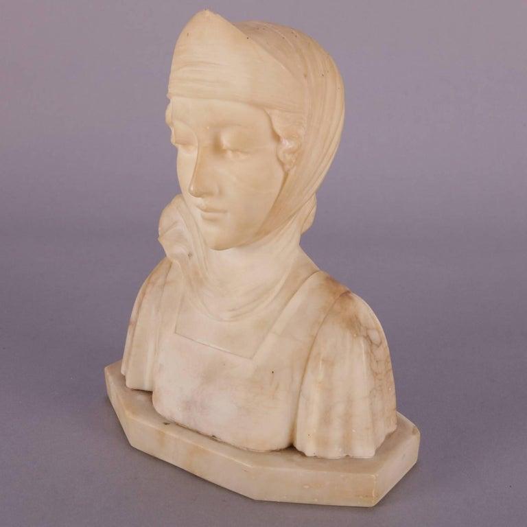 Antique Italian Carved Alabaster Portrait Bust Sculpture Dante's Beatrice For Sale 4