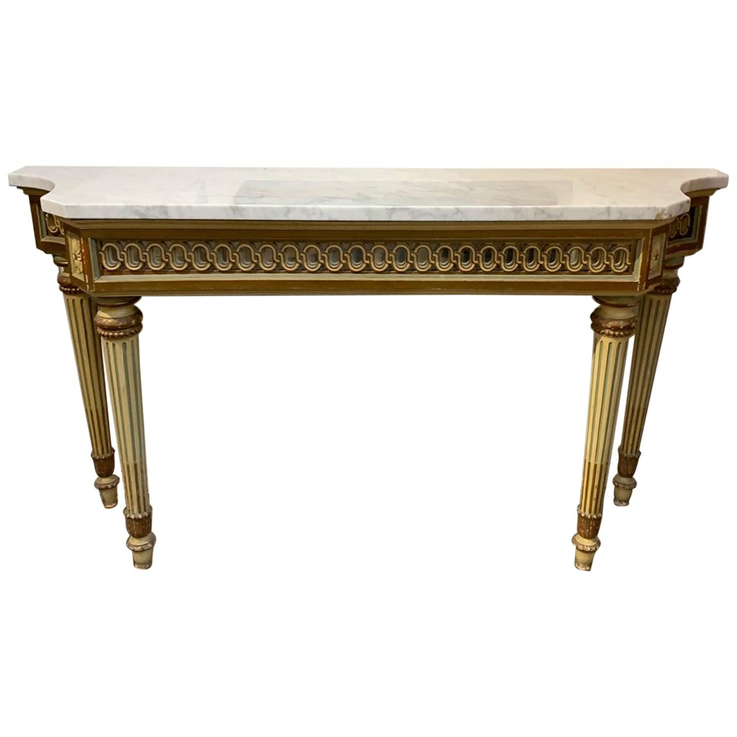 Antique Italian Carved and Painted Console with Marble Top