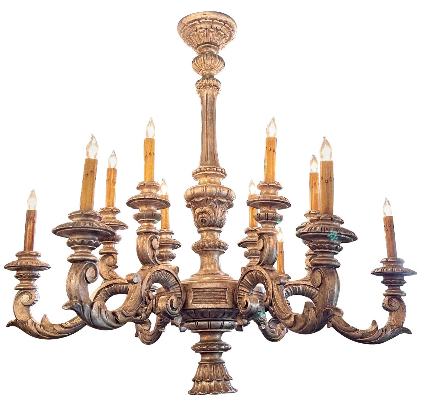 Antique Italian Carved and Silver Giltwood 12-Light Chandelier