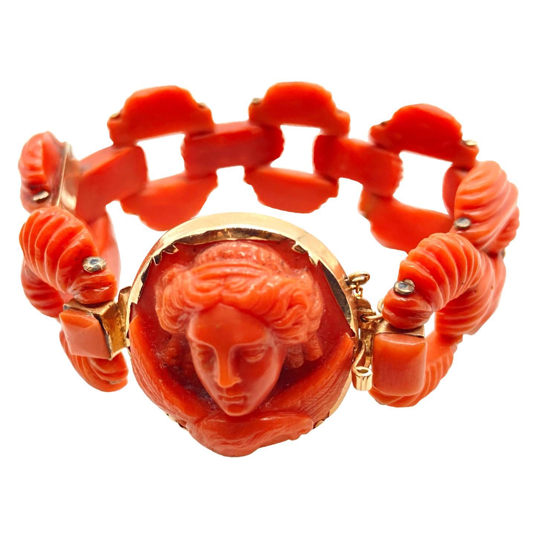 Antique Italian Carved Coral Bracelet