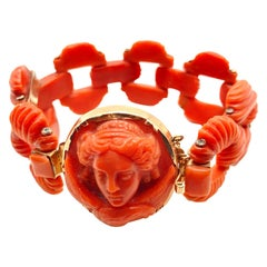 Antique Italian Carved Coral Bracelet