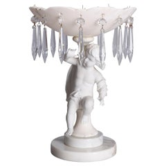 Antique Italian Carved Marble and Crystal Figural Cherub Tazza, 19th Century