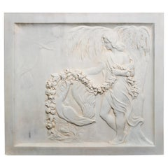 Antique Italian Carved Marble Bas Relief 'Lady and Peacock'