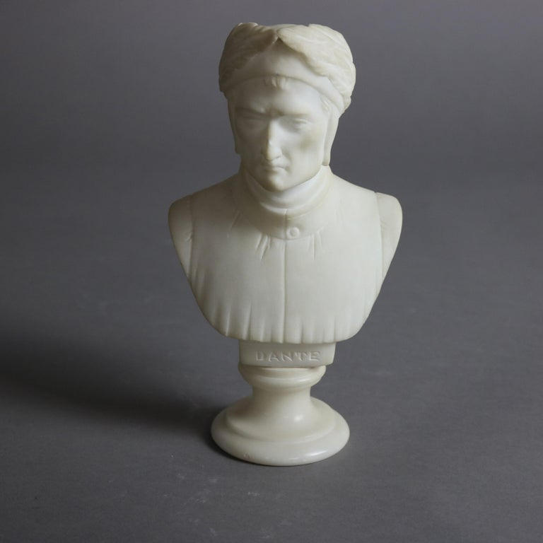 An antique Italian sculpture offers carved marble depicting a portrait bust of Dante Alighieri seated on stepped circular plinth, titled as photographed, c1890  Measures - 8.25''H x 4.5''W x 3''D.