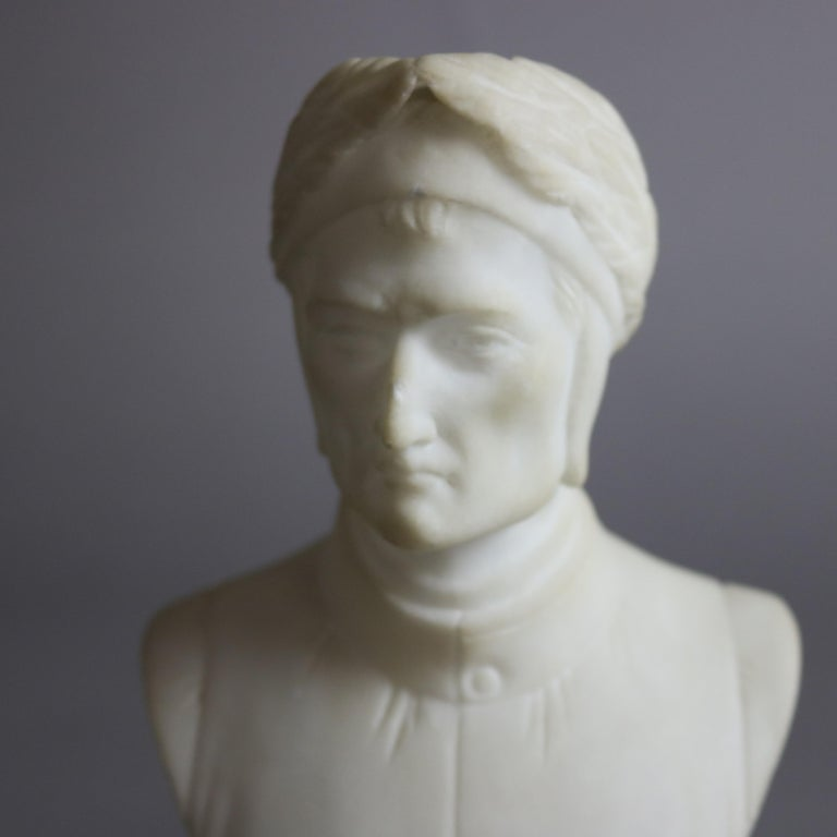 Classical Greek Antique Italian Carved Marble Bust Sculpture of Dante Alighieri, C 1890 For Sale