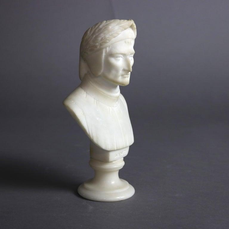 19th Century Antique Italian Carved Marble Bust Sculpture of Dante Alighieri, C 1890 For Sale