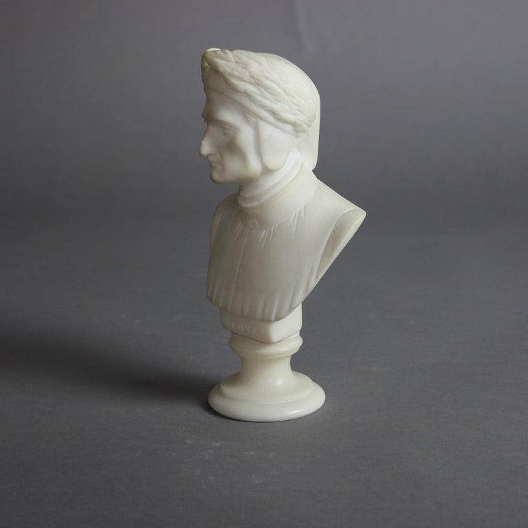 Antique Italian Carved Marble Bust Sculpture of Dante Alighieri, C 1890 For Sale 1