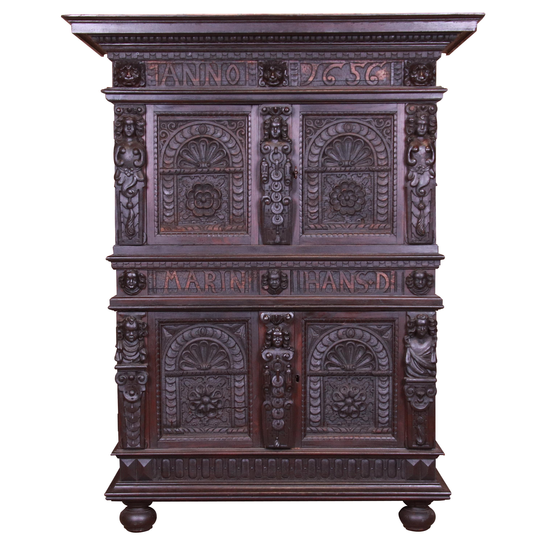 Antique Italian Carved Oak Renaissance Revival Bar Cabinet, circa 1880s