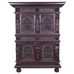 Antique Italian Carved Oak Renaissance Revival Bar Cabinet, circa 1880s