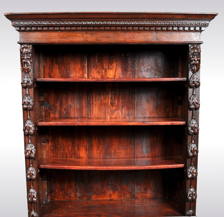 Antique Italian Carved Walnut Renaissance Revival Bookcase, circa 1870 In Good Condition For Sale In Portland, OR