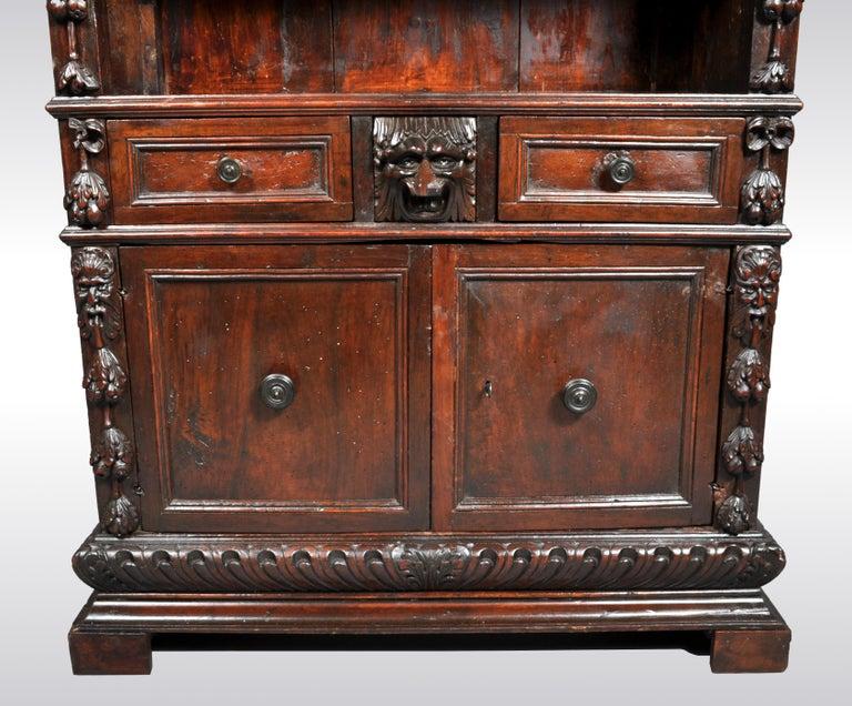 19th Century Antique Italian Carved Walnut Renaissance Revival Bookcase, circa 1870 For Sale