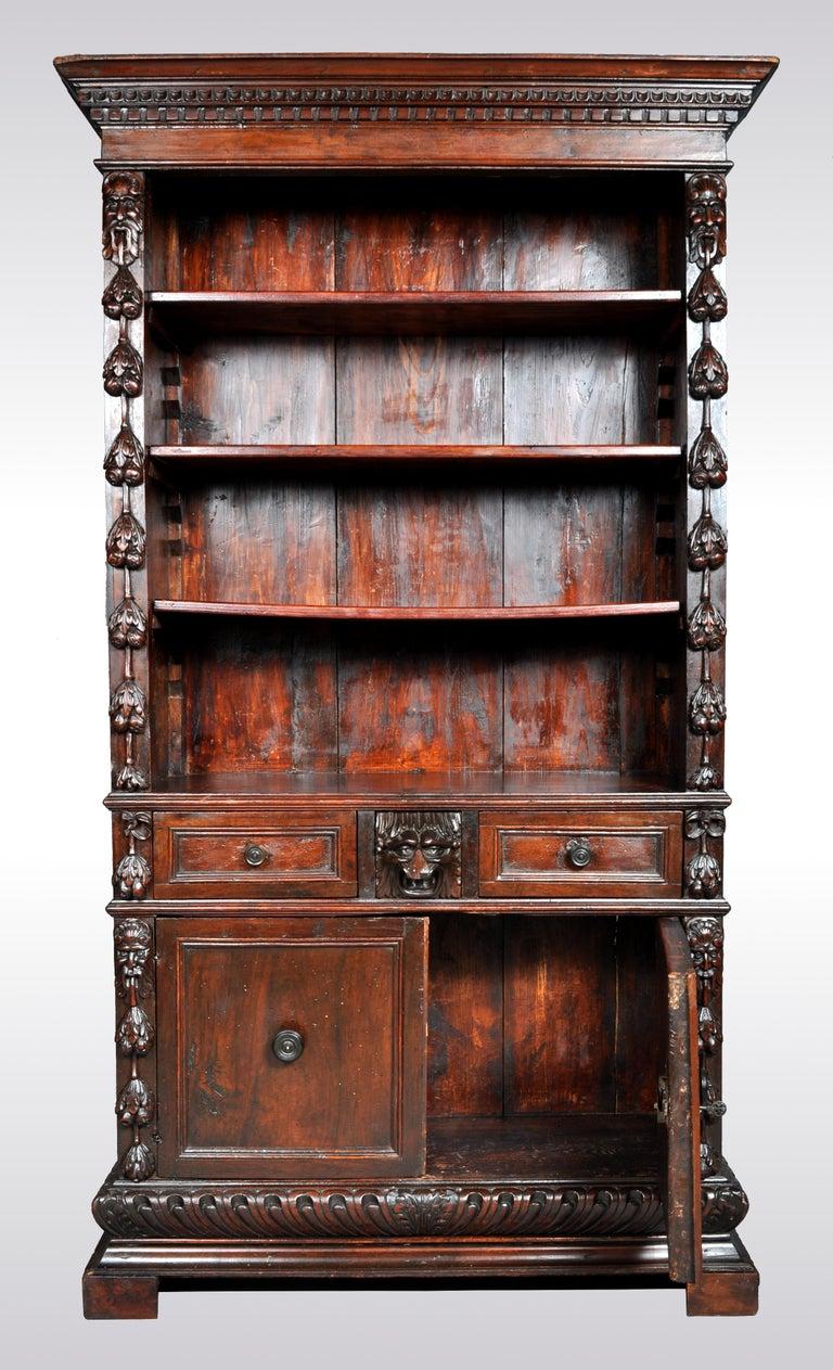 Antique Italian Carved Walnut Renaissance Revival Bookcase, circa 1870 For Sale 2