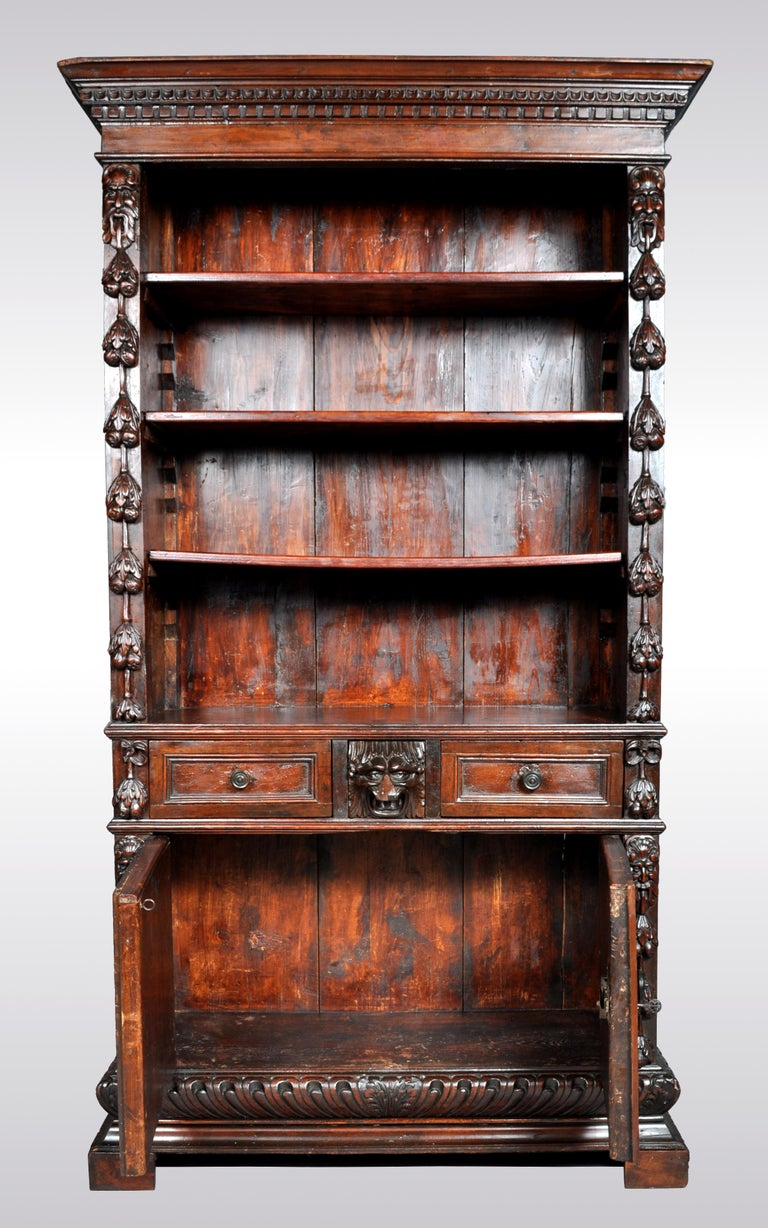 Antique Italian Carved Walnut Renaissance Revival Bookcase, circa 1870 For Sale 3