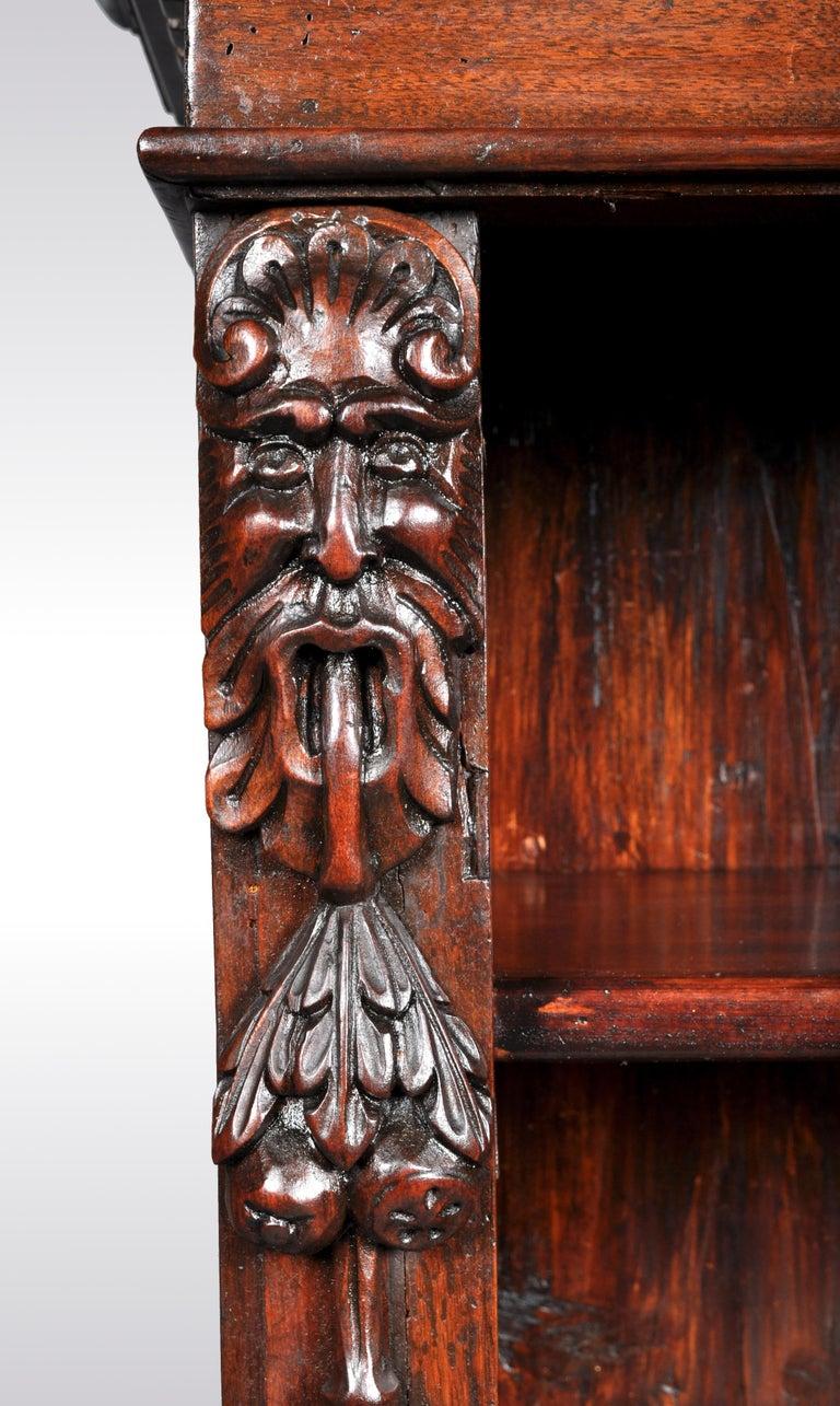 Antique Italian Carved Walnut Renaissance Revival Bookcase, circa 1870 For Sale 4