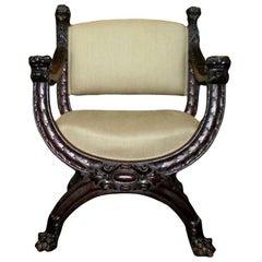 Antique Italian Carved Walnut Renaissance Style Chair