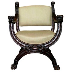 Antique Italian Carved Walnut Renaissance Style Chair