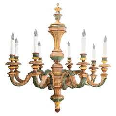 Antique Italian Carved Wood Painted Chandelier
