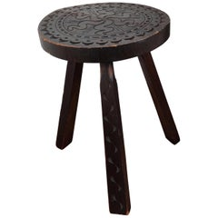 Antique Italian Carved Wood Round Tripod Chair Stool